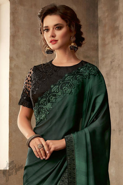 Forest Green and Black Silk Party Wear Saree