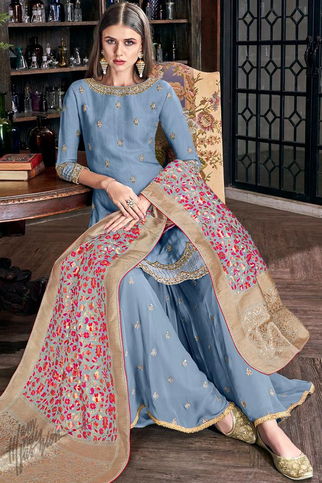 Slate Blue Tussar Silk Palazzo Suit