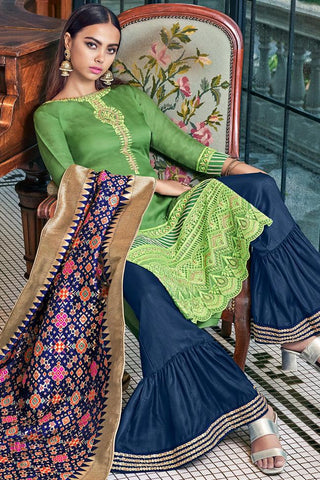 Fern Green and Blue Tussar Satin Sharara Suit