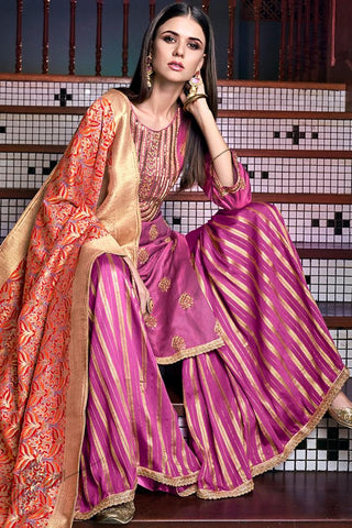 Magenta and Red Tussar Satin Sharara Suit