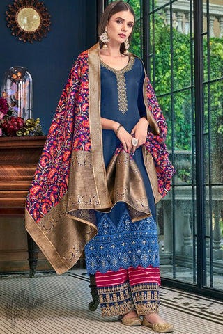 Blue and Cranberry Red Tussar Satin Palazzo Suit