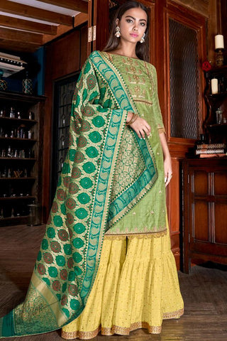 Olive Green and Yellow Silk Sharara Suit
