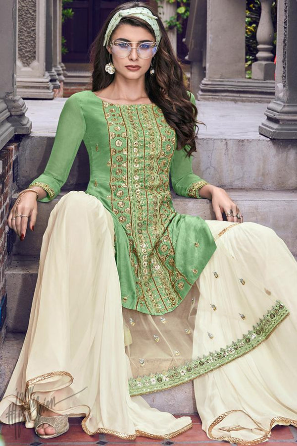 Pastel Green and Off White Tussar Satin Sharara Suit