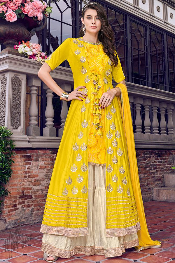 Bright Yellow and Off White Jacket Style Sharara Suit