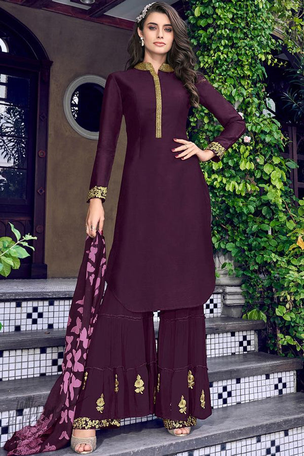 Wine Silk and Georgette Sharara Suit