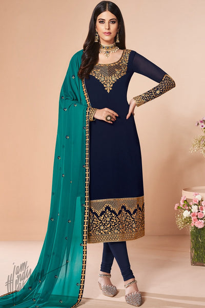 Midnight and Ocean Blue Georgette Straight Suit