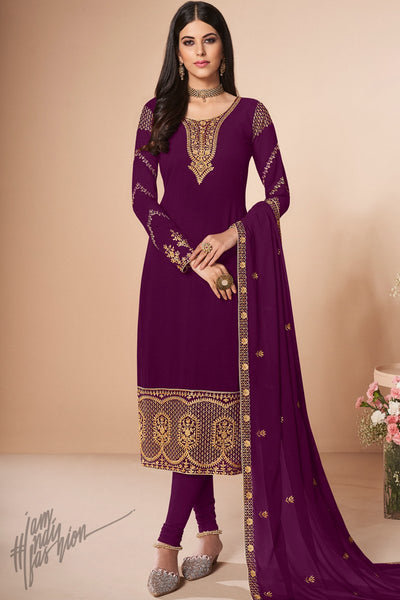 Wine Georgette Straight Suit