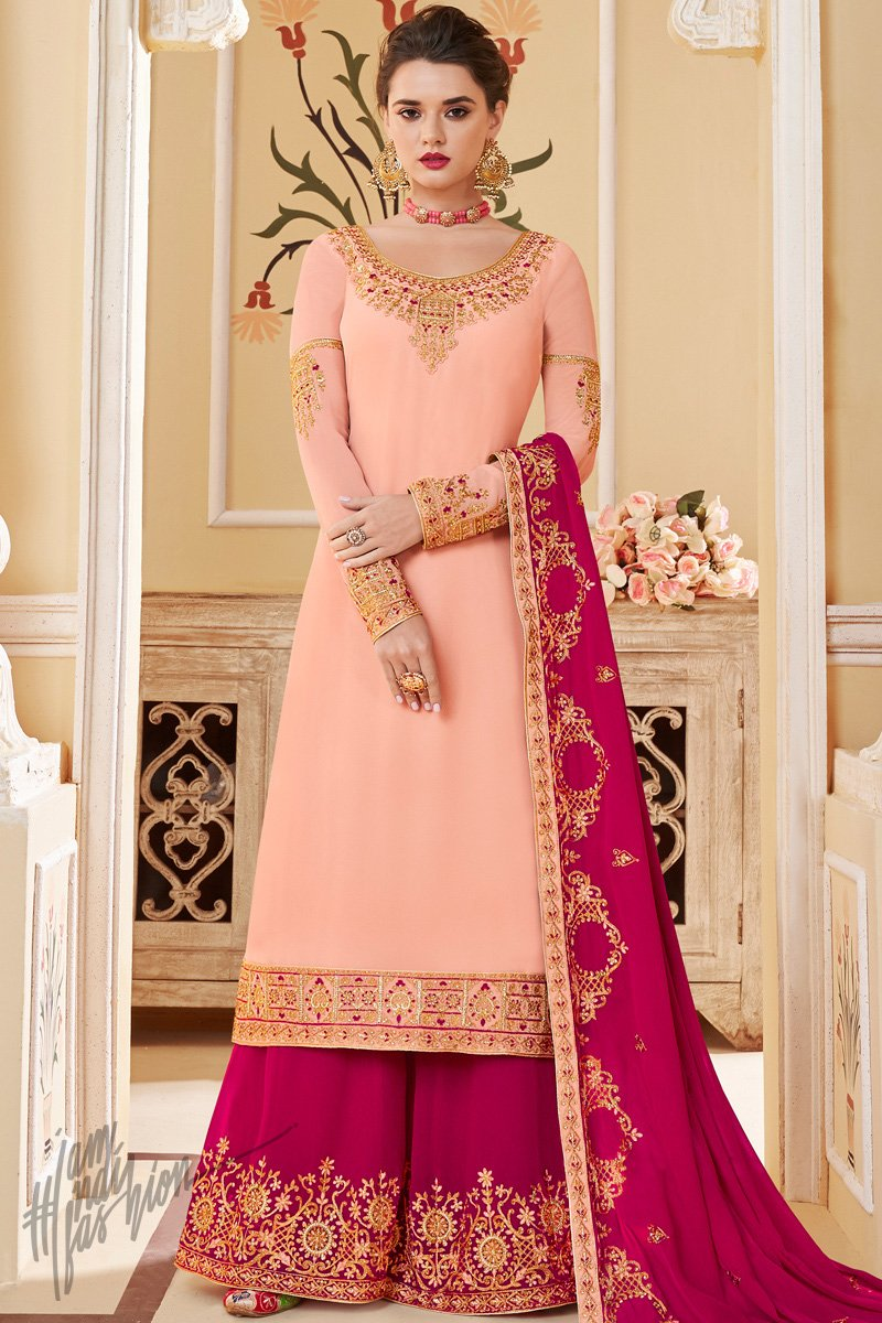 Baby Pink and Magenta Pure Georgette Palazzo Suit