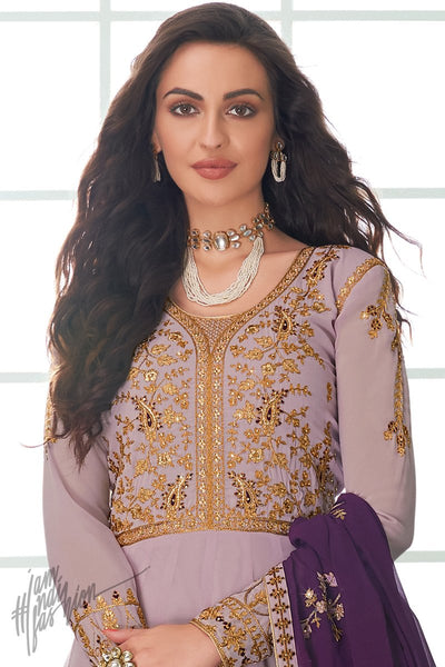 Lilac and Eggplant Purple Georgette Anarkali Suit
