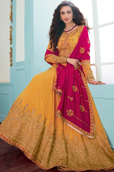 Honey Orange and Magenta Georgette Anarkali Suit