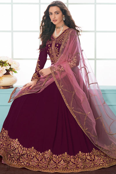 Wine and Pink Georgette Anarkali Suit