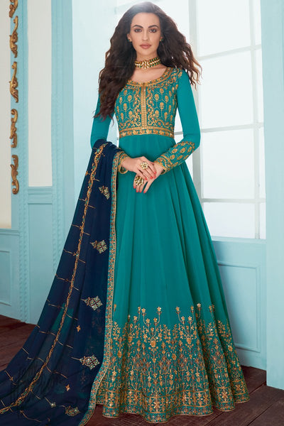 Teal and Navy Blue Georgette Anarkali Suit