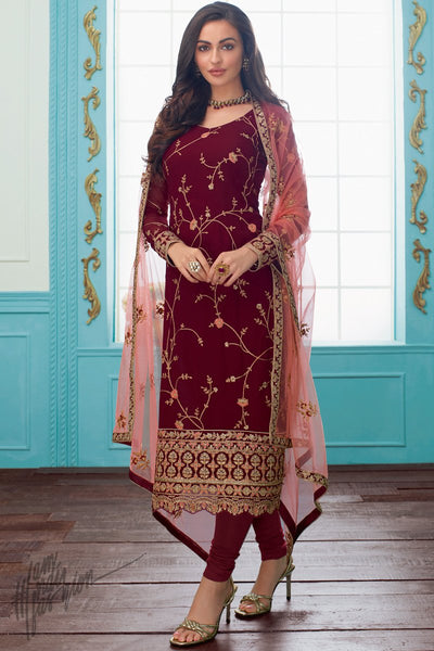 Merlot Red and Baby Pink Georgette Straight Suit