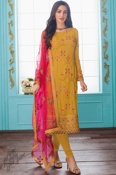 Mustard and Pink Georgette Straight Suit