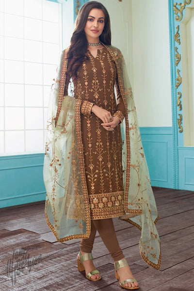 Brown and Light Sage Green Georgette Straight Suit