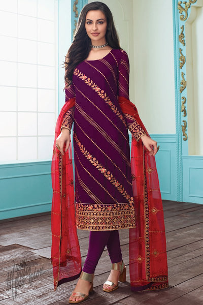Wine and Red Georgette Straight Suit