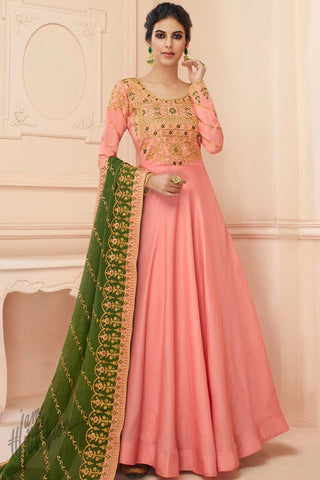 Pink and Mehandi Green Tussar Silk Anarkali Suit