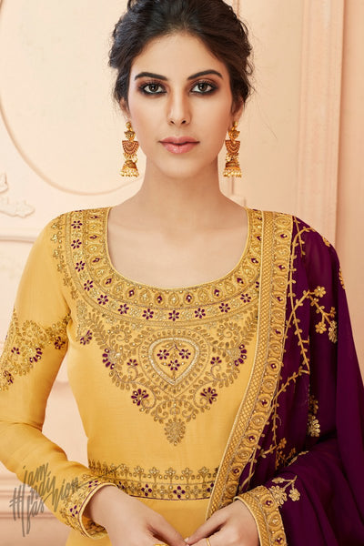 Canary Yellow and Wine Tussar Silk Anarkali Suit