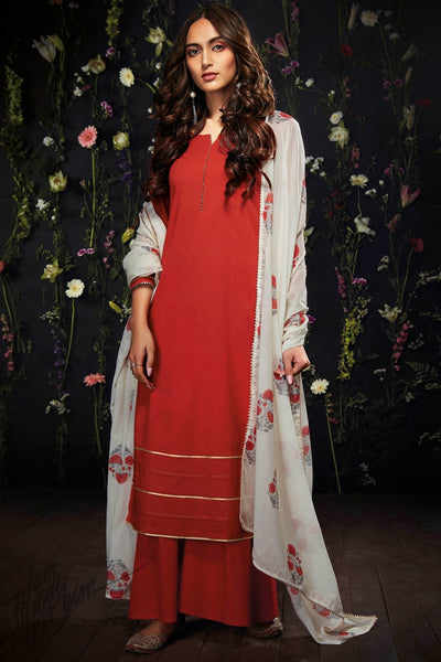 Hot Red Cotton Palazzo Suit