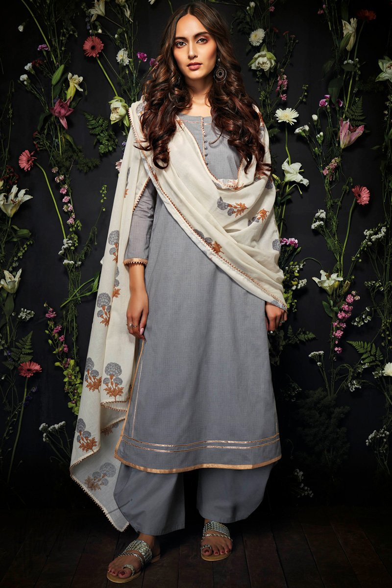 Gray Cotton Palazzo Suit