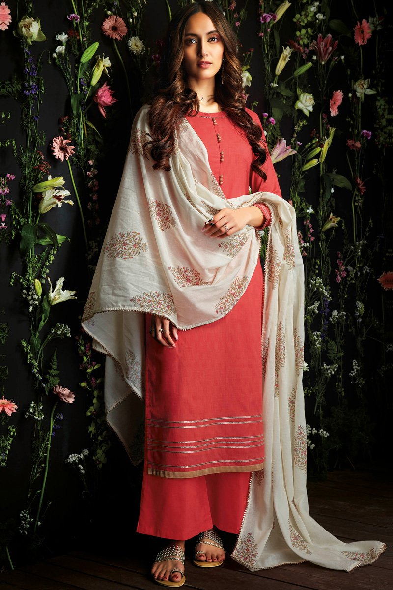 Red Cotton Palazzo Suit