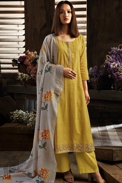 Mustard Green an Gray Cotton Straight Palazzo Suit