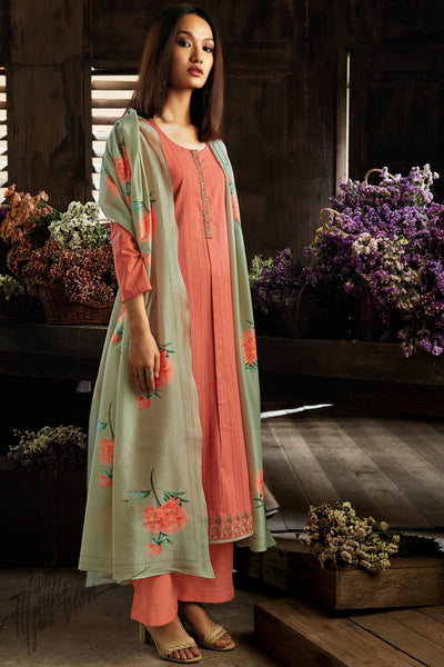 Coral Pink and Pista Green Cotton Straight Palazzo Suit