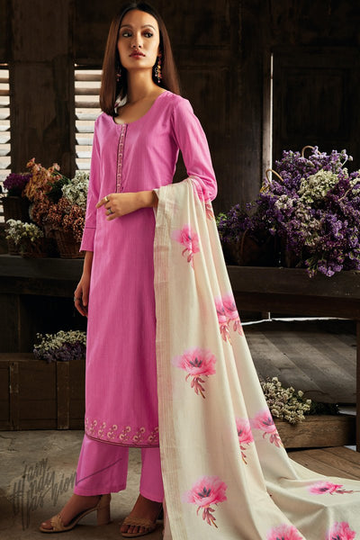 Watermelon Pink and Off White Cotton Straight Palazzo Suit