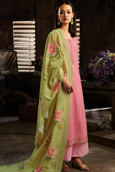 Pink and Mint Green Cotton Straight Palazzo Suit
