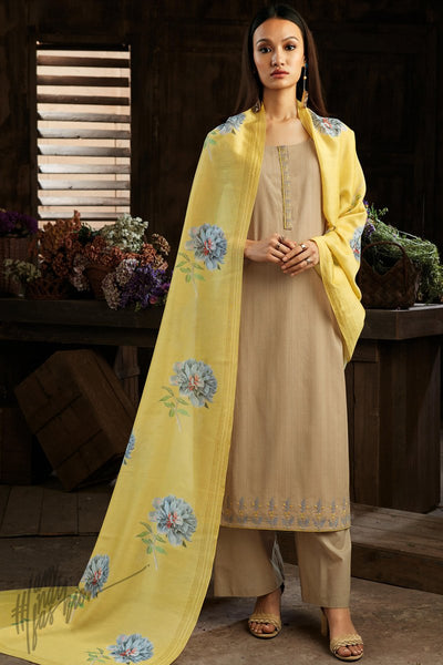 Sepia and Pastel Yellow Cotton Straight Palazzo Suit