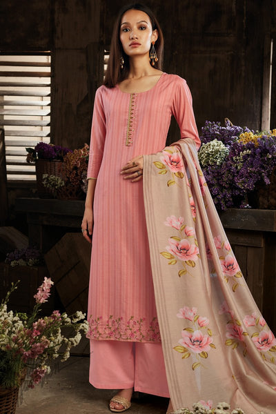 Pink and Light Brown Cotton Straight Palazzo Suit