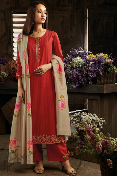 Red and Beige Cotton Straight Palazzo Suit