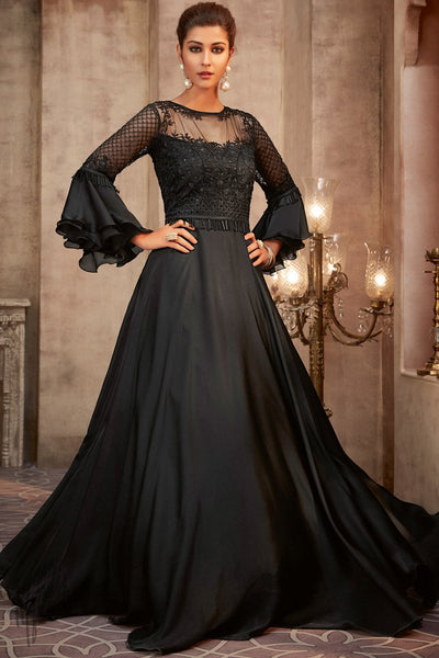 Black Silk Georgette Wedding Gown
