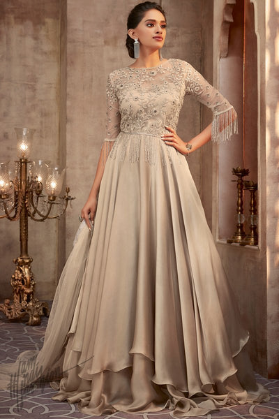 Chiku Silk Georgette Layered Wedding Gown