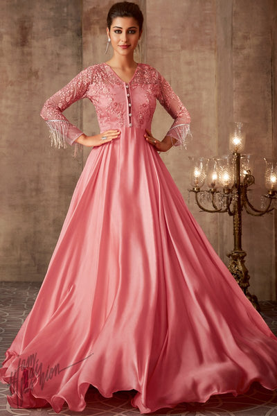Pink Silk Georgette Wedding Gown