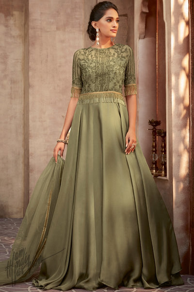 Olive Green Silk Georgette Wedding Gown