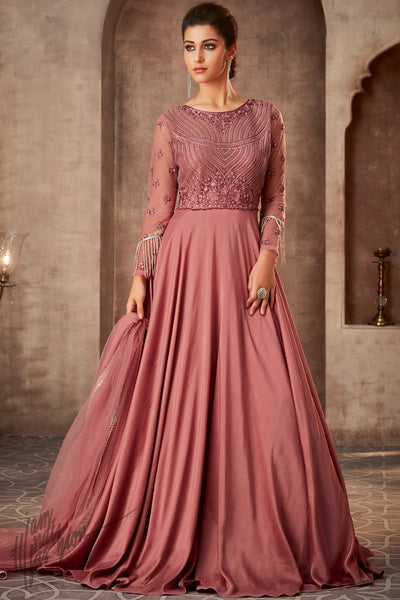 Blush Pink Silk Georgette Wedding Gown