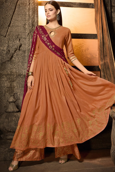 Rust and Jam Purple Muslin Palazzo Anarkali Suit