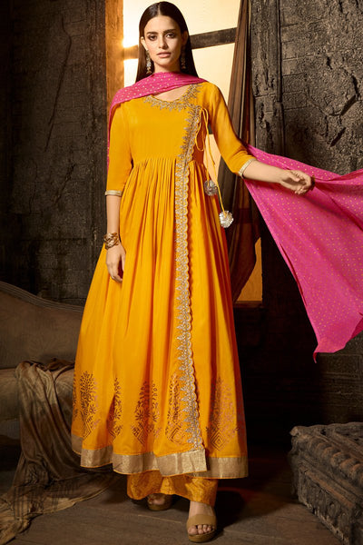 Yellow and Pink Muslin Palazzo Anarkali Suit