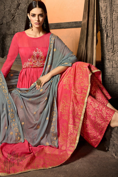 Pink and Gray Muslin Palazzo Anarkali Suit
