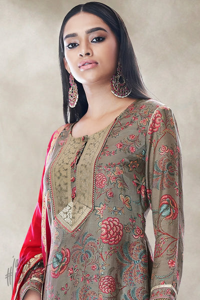 Gray and Red Cotton Silk Palaazo Suit