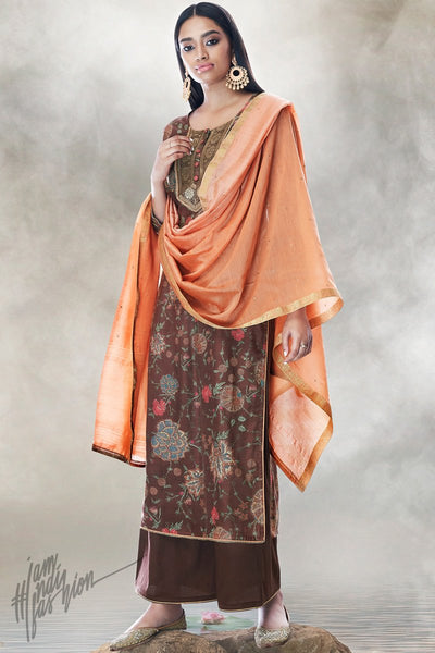 Chocolate Brown and Peach Cotton Silk Palaazo Suit