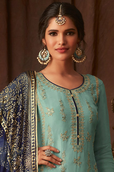 Sky and Navy Blue Upada Silk Straight Suit