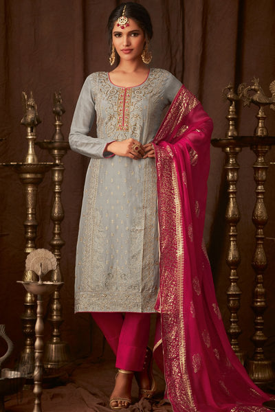 Gray and Hot Pink Upada Silk Straight Suit