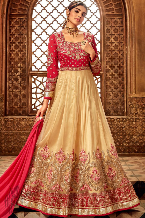 Red and Chiku Butterfly Net and Silk Anarkali Suit