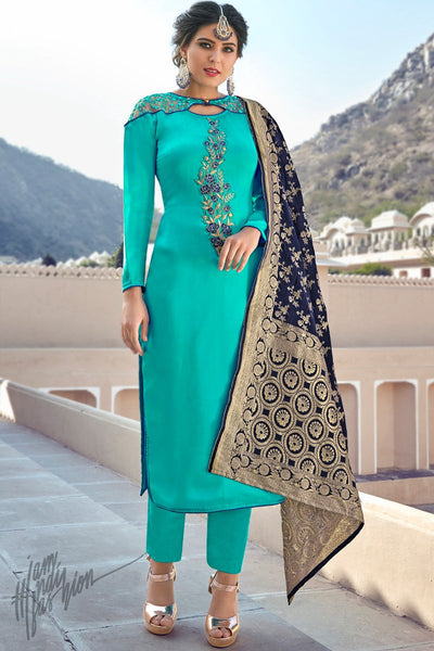 Teal Satin Georgette Straight Suit