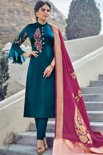Peacock Blue Satin Georgette Straight Suit