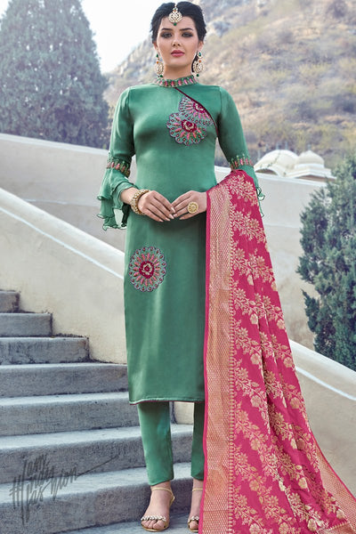 Pine Green Satin Georgette Straight Suit