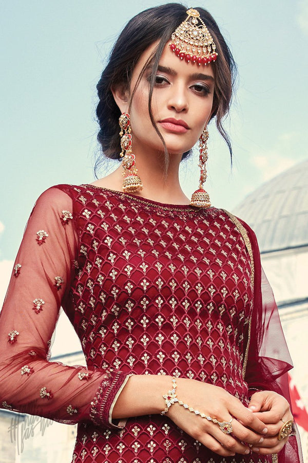 Current Red Net Sharara Suit