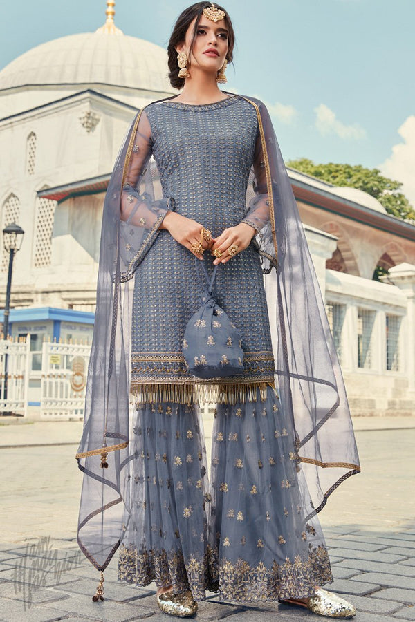 Stone Blue Net Sharara Suit